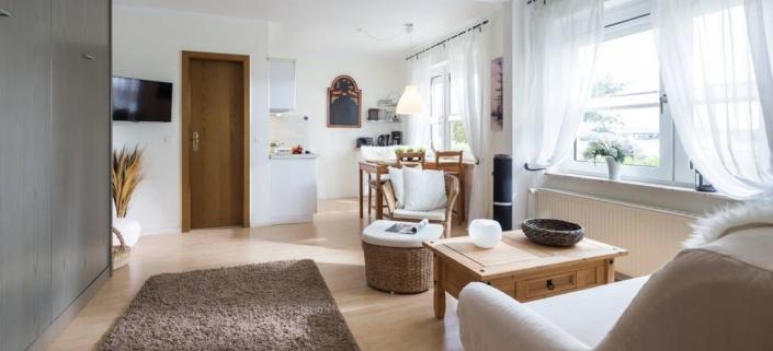 Wohnung Strandkrabbe Wohnbereich mit Küche